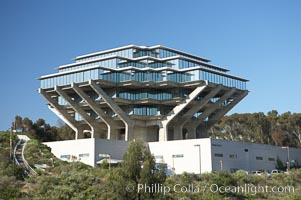 The UCSD Library (Geisel Library, UCSD Central Library) at the University of California, San Diego.  UCSD Library.  La Jolla, California.  On December 1, 1995 The University Library Building was renamed Geisel Library in honor of Audrey and Theodor Geisel (Dr. Seuss) for the generous contributions they have made to the library and their devotion to improving literacy.  In The Tower, Floors 4 through 8 house much of the Librarys collection and study space, while Floors 1 and 2 house service desks and staff work areas.  The library, designed in the late 1960s by William Pereira, is an eight story, concrete structure sited at the head of a canyon near the center of the campus. The lower two stories form a pedestal for the six story, stepped tower that has become a visual symbol for UCSD. University of California, San Diego, La Jolla, California, USA, natural history stock photograph, photo id 11274
