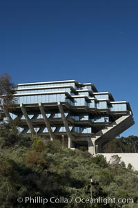 The UCSD Library (Geisel Library, UCSD Central Library) at the University of California, San Diego.  UCSD Library.  La Jolla, California.  On December 1, 1995 The University Library Building was renamed Geisel Library in honor of Audrey and Theodor Geisel (Dr. Seuss) for the generous contributions they have made to the library and their devotion to improving literacy.  In The Tower, Floors 4 through 8 house much of the Librarys collection and study space, while Floors 1 and 2 house service desks and staff work areas.  The library, designed in the late 1960s by William Pereira, is an eight story, concrete structure sited at the head of a canyon near the center of the campus. The lower two stories form a pedestal for the six story, stepped tower that has become a visual symbol for UCSD