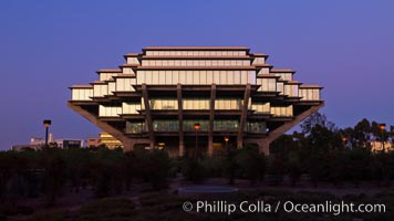 UCSD Library glows at sunset (Geisel Library, UCSD Central Library), University of California, San Diego