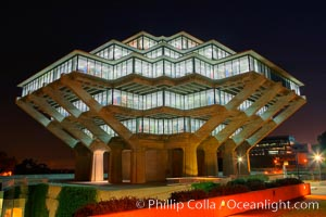 UCSD Library glows with light in this night time exposure (Geisel Library, UCSD Central Library), University of California, San Diego, La Jolla