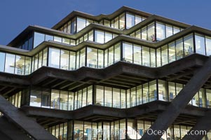 UCSD Library glows with light in this night time exposure (Geisel Library, UCSD Central Library). University of California, San Diego, La Jolla, California, USA, natural history stock photograph, photo id 20186