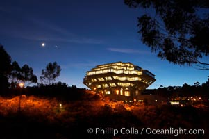 UCSD Library glows at sunset (Geisel Library, UCSD Central Library). University of California, San Diego, La Jolla, California, USA, natural history stock photograph, photo id 14783