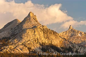 Unicorn Peak at sunset, seen from Tuolumne Meadows.  Cockscomb Peak rises in the distance, Yosemite National Park, California