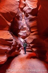 Canyoneering, hiking and exploring in Antelope Canyon slot canyon. Navajo Tribal Lands, Page, Arizona, USA, natural history stock photograph, photo id 26612