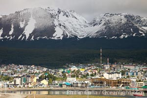 Ushuaia, the southernmost city in the world, lies on the Beagle Channel with a small portion of the Andes mountain range rising above.  Ushuaia is the capital of the Tierra del Fuego region of Argentina and the gateway port for many expeditions to Antarctica. Ushuaia, Tierra del Fuego, Argentina, natural history stock photograph, photo id 23604