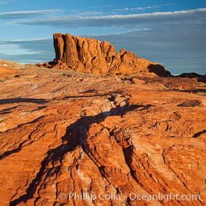 Sandstone striations and butte, dawn, Valley of Fire State Park