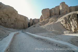 Valley of the Kings, roadway leading from Nile River to a complex of ancient tombs. Luxor, Egypt, natural history stock photograph, photo id 18501