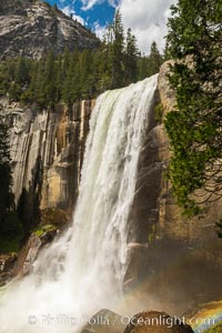 Vernal Falls at peak flow in late spring, viewed from the Mist Trail, Yosemite National Park, California