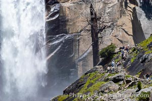 Hikers climb the Mist Trail (at right) through Little Yosemite Valley, approaching Vernal Falls.  Spring, Yosemite National Park, California