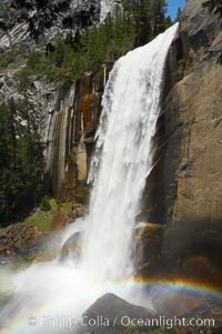 Vernal Falls at peak flow in late spring, viewed from the Mist Trail. Vernal Falls, Yosemite National Park, California, USA