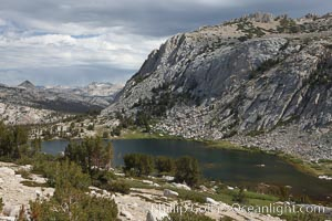 Spectacular Vogelsang Lake in Yosemite's High Sierra, with Fletcher Peak (11407') to the right and Choo-choo Ridge in the distance, near Vogelsang High Sierra Camp. Yosemite National Park, California, USA, natural history stock photograph, photo id 23214