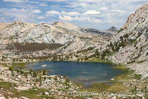 Spectacular Vogelsang Lake in Yosemite's High Sierra, with Fletcher Peak (11407') to the right and Choo-choo Ridge in the distance, near Vogelsang High Sierra Camp, Yosemite National Park, California