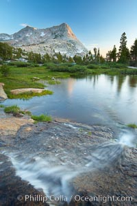Vogelsang Peak (11516') at sunset, reflected in a small creek near Vogelsang High Sierra Camp in Yosemite's high country. Yosemite National Park, California, USA, natural history stock photograph, photo id 23220