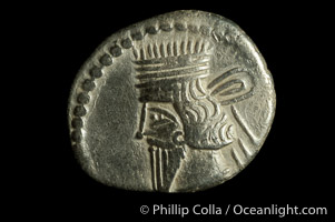 Vologases III of Parthia (105-147 A.D.), depicted on ancient Parthian coin (silver, denom/type: Drachm) (Ar Drachm, aVF. Obverse: Bust left. Reverse: archer enthroned right, holding bow, Greek legend.)