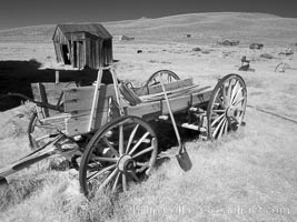 Wagon near Miner's Union Hall, infrared, Bodie State Historical Park, California