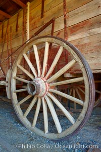Wagon wheel, in County Barn, Bodie State Historical Park, California