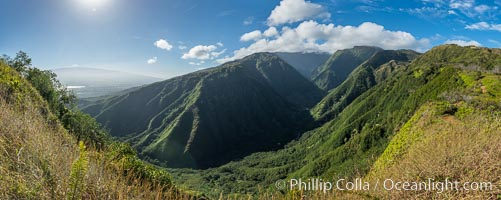 Waihee Canyon from Waihee Ridge, Maui, Hawaii, Panoramic Photo