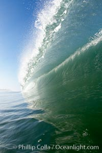 Breaking wave, tube, hollow barrel, morning surf., natural history stock photograph, photo id 19532
