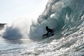 Bodyboarder and backlit wave, the Wedge, The Wedge, Newport Beach, California