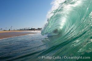 Backlit wave, the Wedge, The Wedge, Newport Beach, California