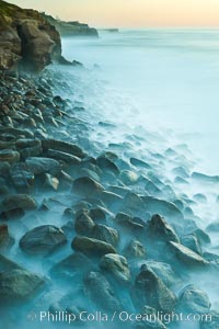 Waves and beach boulders, abstract study of water movement, La Jolla, California