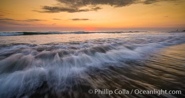 Waves rush in at sunset, Carlsbad beach sunset and ocean waves, seascape, dusk, summer