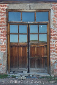 Weathered old door and windows, Hydro Building on Green Street, Bodie State Historical Park, California