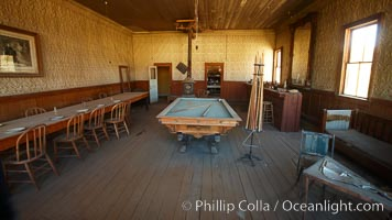 Wheaton and Hollis Hotel, interior of pool room and parlor, Bodie State Historical Park, California