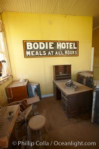 Wheaton and Hollis Hotel, lobby interior with sign &#34;Bodie Hotel, meals at all hours.&#34;, Bodie State Historical Park, California