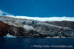 Boat Horizon near Spanish Cove, clouds held back by island crest, Guadalupe Island (Isla Guadalupe)