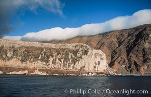 Clouds held back by island crest, Guadalupe Island (Isla Guadalupe)