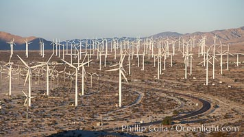 Wind turbines, in the San Gorgonio Pass, near Interstate 10 provide electricity to Palm Springs and the Coachella Valley