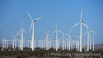 Wind turbines, in the San Gorgonio Pass, near Interstate 10 provide electricity to Palm Springs and the Coachella Valley. San Gorgonio Pass, Palm Springs, California, USA, natural history stock photograph, photo id 22239