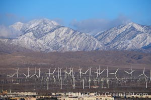 Wind turbines and Mount San Gorgonio Pass, near Interstate 10, provide electricity to Palm Springs and the Coachella Valley. San Gorgonio Pass, Palm Springs, California, USA, natural history stock photograph, photo id 22236
