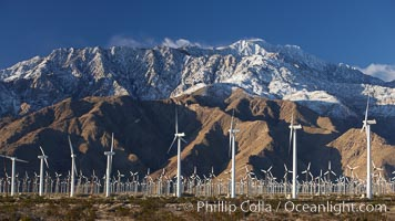 Wind turbines and Mount San Jacinto, rise above the flat floor of the San Gorgonio Pass near Palm Springs, provide electricity to Palm Springs and the Coachella Valley