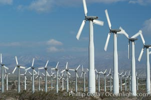 Wind turbines provide electricity to Palm Springs and the Coachella Valley. San Gorgonio pass, San Bernardino mountains. San Gorgonio Pass, Palm Springs, California, USA, natural history stock photograph, photo id 06858