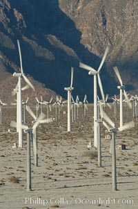 Wind turbines provide electricity to Palm Springs and the Coachella Valley. San Gorgonio pass, San Bernardino mountains. San Gorgonio Pass, Palm Springs, California, USA, natural history stock photograph, photo id 06864