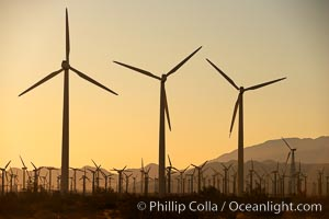 Wind turbines at sunrise, in the San Gorgonio Pass, near Interstate 10 provide electricity to Palm Springs and the Coachella Valley
