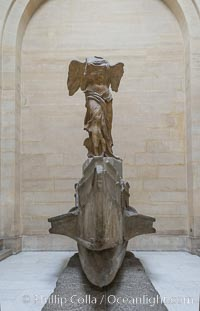 The Winged Victory of Samothrace, also called the Nike of Samothrace, is a 2nd century BC marble sculpture of the Greek goddess Nike (Victory). The Nike of Samothrace, discovered in 1863, is estimated to have been created around 190 BC. Musee du Louvre, Paris, France, natural history stock photograph, photo id 28102