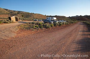 Wire Pass trailhead.  The parking lot at the Wire Pass trailhead, early morning, as hikers arrive and set out to Buckskin Gulch, the North Coyote Buttes and the Wave. Wire Pass, Paria Canyon-Vermilion Cliffs Wilderness, Arizona, USA, natural history stock photograph, photo id 20745