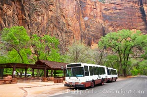 Shuttle buses move visitors throughout the upper Zion Canyon from April through September, Zion National Park, Utah