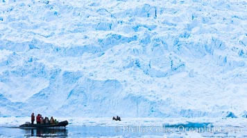 Zodiac cruising in Antarctica.  Tourists enjoy the pack ice and towering glaciers of Cierva Cove on the Antarctic Peninsula. Cierva Cove, Antarctic Peninsula, Antarctica, natural history stock photograph, photo id 25590