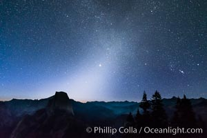 Zodiacal Light and planet Jupiter in the northeastern horizon, above Half Dome and the Yosemite high country, Glacier Point, Yosemite National Park, California