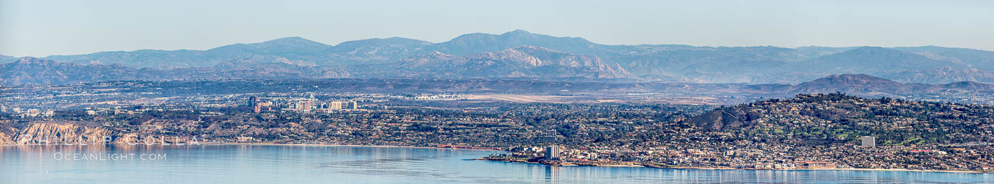 Aerial Panorama of La Jolla, University City, showing (from left) UCSD, University City, Scripps Institution of Oceanography, La Jolla Shores, Point La Jolla, Mount Soledad, in the background some of the mountains to the east of San Diego