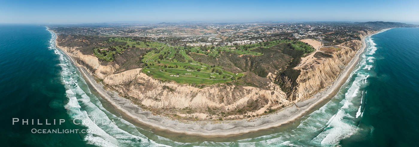 Aerial panorama of Blacks Beach, Torrey Pines Golf Course (south course), and views to La Jolla (south) and Carlsbad (north)