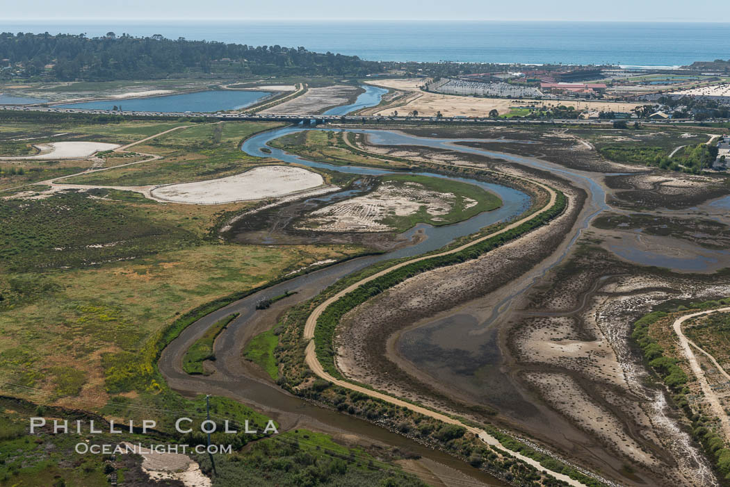 Aerial photo of San Dieguito Lagoon State Marine Conservation Area.  San Dieguito Lagoon State Marine Conservation Area (SMCA) is a marine protected area near Del Mar in San Diego County. Del Mar, California, USA, natural history stock photograph, photo id 30611
