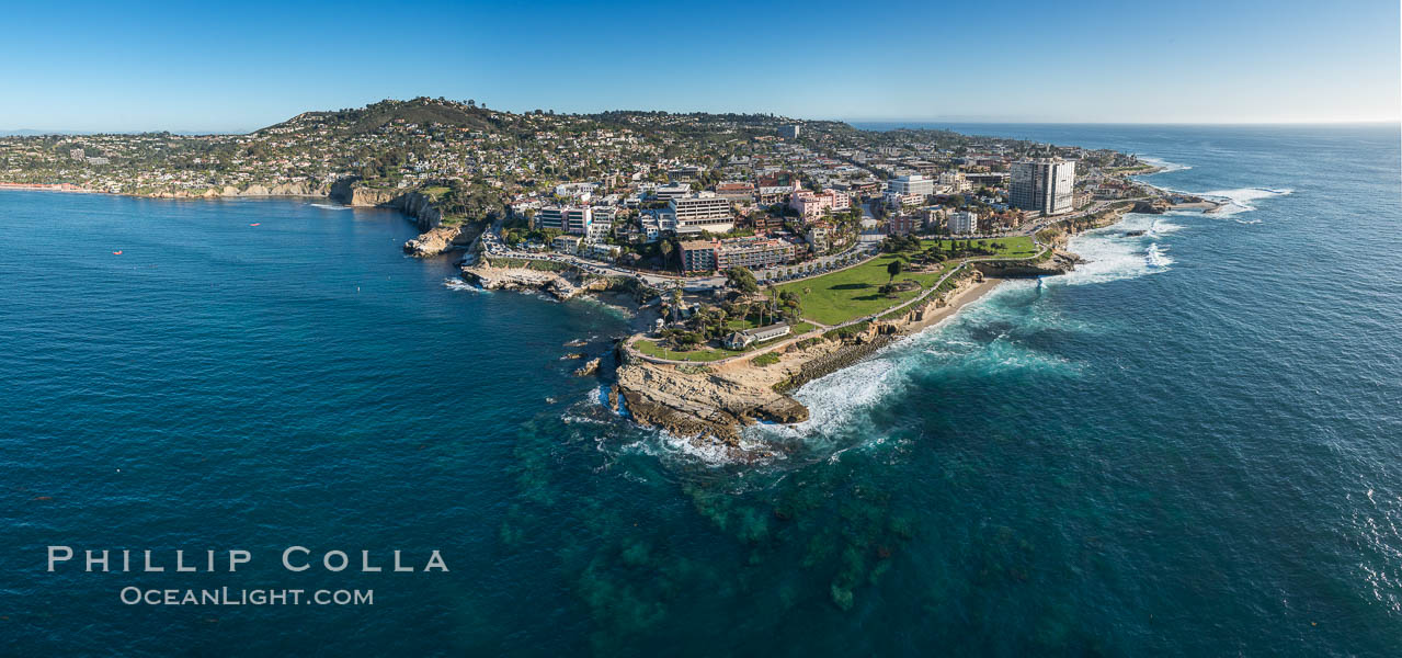 Aerial Panoramic Photo of Point La Jolla and La Jolla Cove, Boomer Beach, Scripps Park