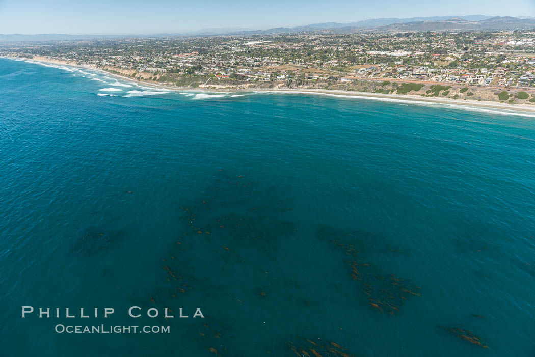 Aerial Photo of Swamis Marine Conservation Area.  Swami's State Marine Conservation Area (SMCA) is a marine protected area that extends offshore of Encinitas in San Diego County. Encinitas, California, USA, natural history stock photograph, photo id 30578