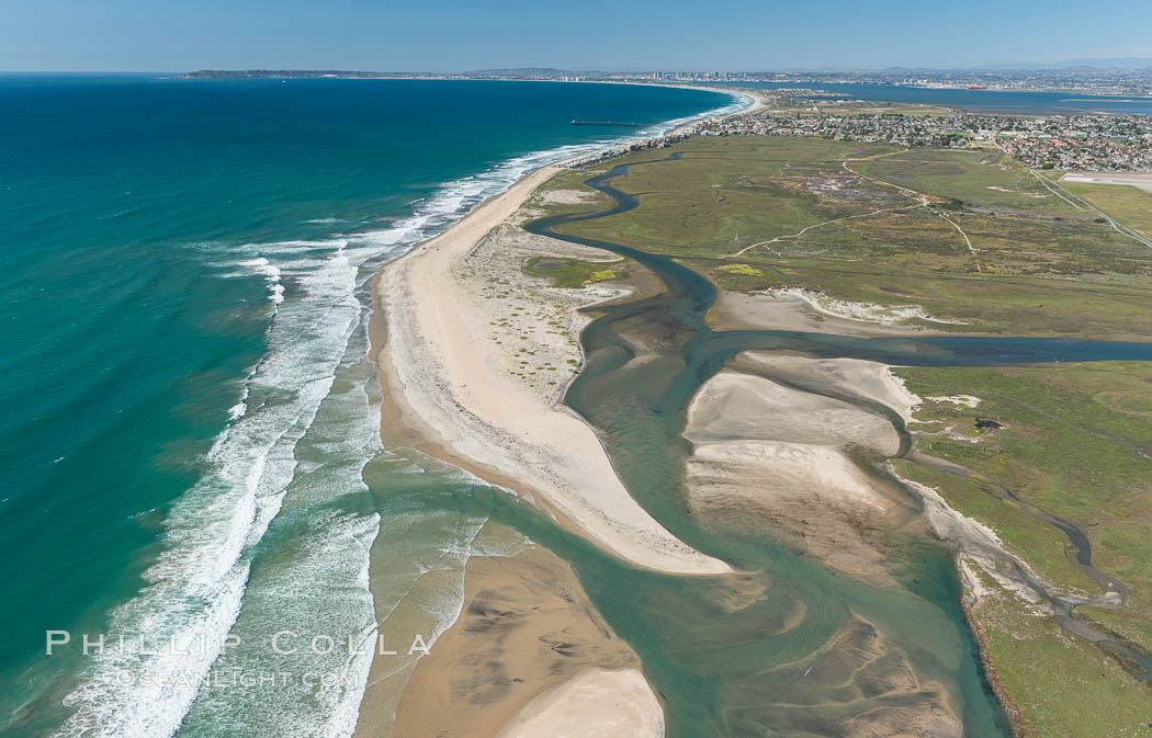 Aerial Photo of Tijuana River Mouth SMCA.  Tijuana River Mouth State Marine Conservation Area borders Imperial Beach and the Mexican Border. Imperial Beach, California, USA, natural history stock photograph, photo id 30660