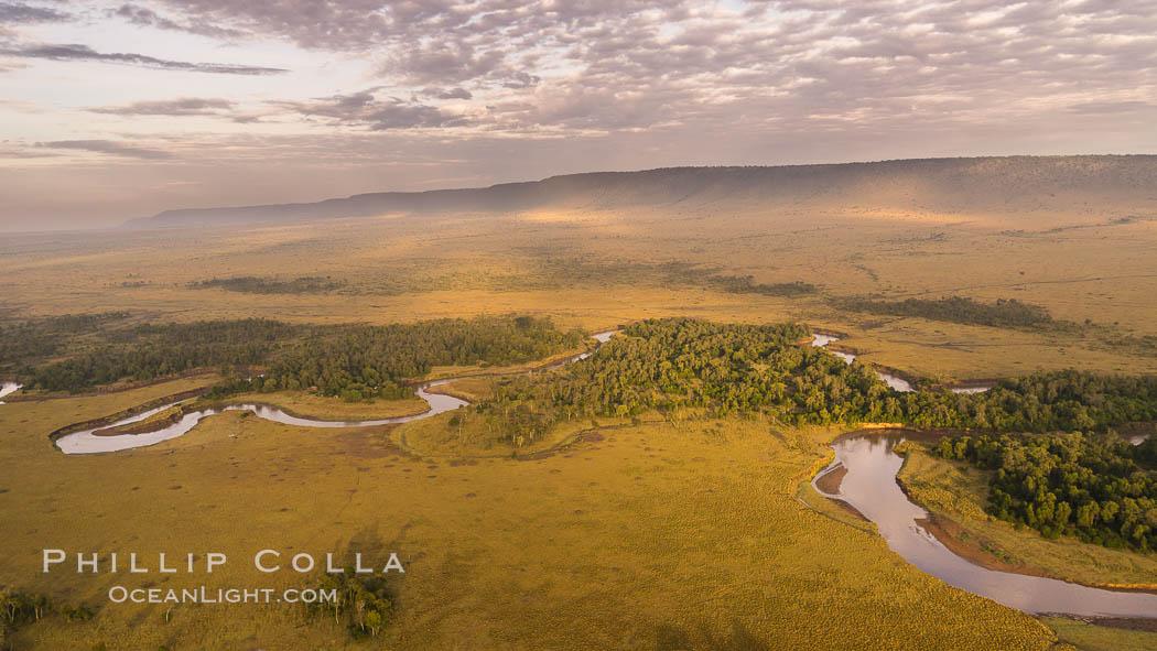 Aerial view of the Mara River, Maasai Mara, Kenya.  Photo taken while hot air ballooning at sunrise. Maasai Mara National Reserve, Kenya, natural history stock photograph, photo id 29809